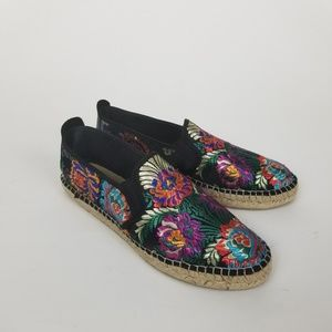 Fabiolas Floral Embroidered Slip On Espadrilles